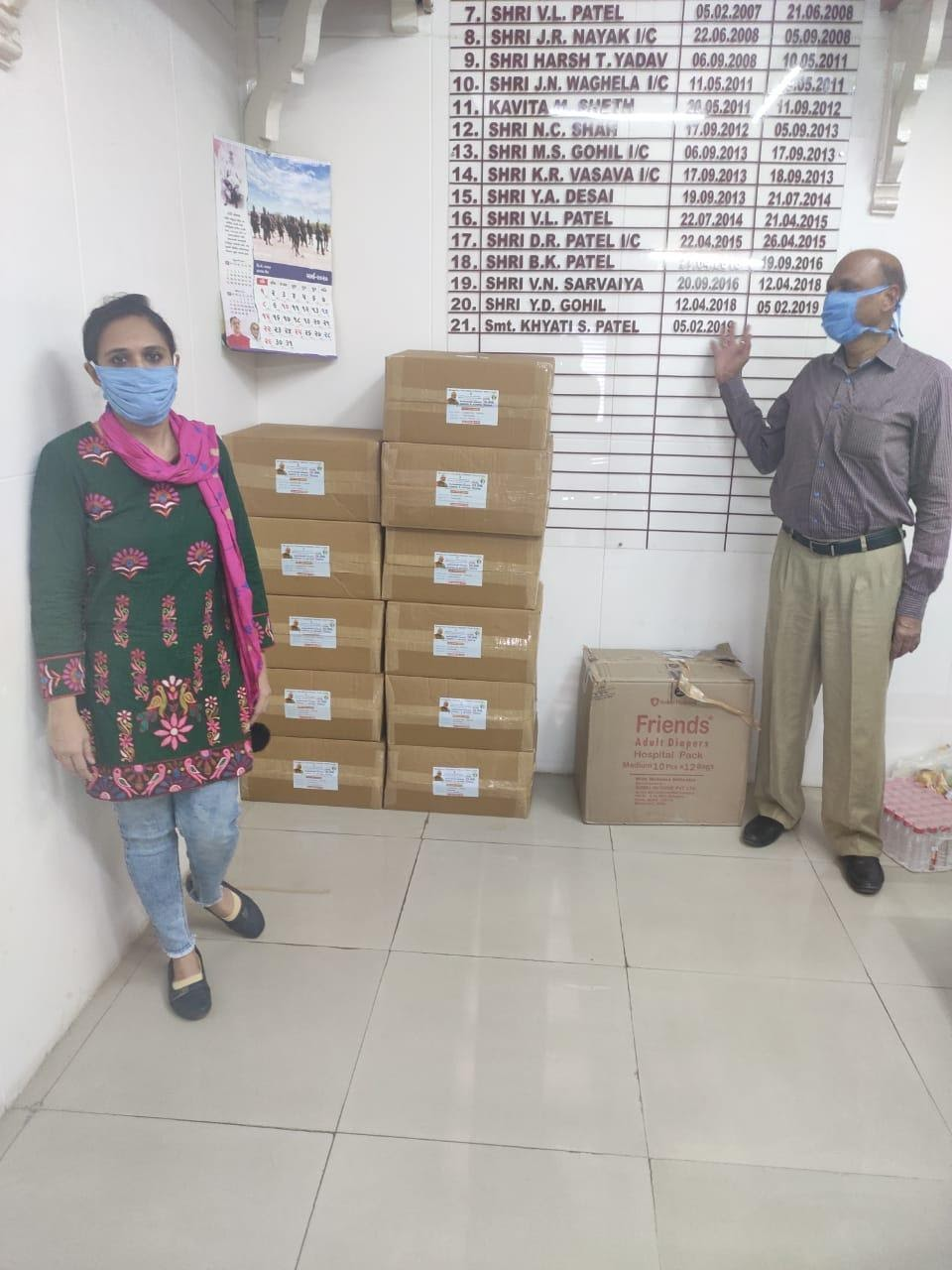 Hand sanitisers, Glovers, Mask etc. delivered at district administration office in Vadodara